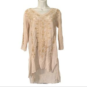 JOHNNY WAS Embroidered Tunic Top Shirt Floral